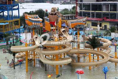 Exciting family water park in giantic waterhouse with different style waterslide / Fiberglass water slides