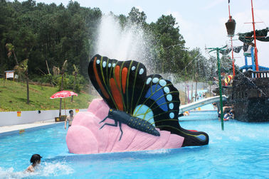 Indoor Water Playground Equipment Kids Water Pool Slides Butterfly Fiberglass